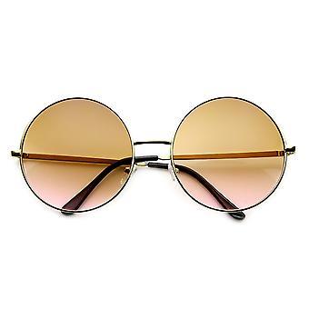 Métal couleur deux tons surdimensionné des femmes teinté ronde lunettes de soleil