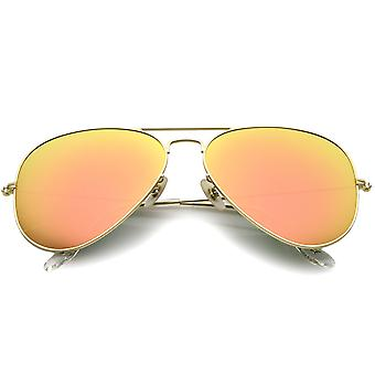 Premium Classic Large Matte Metal Frame Mirror Glass Lens Aviator Sunglasses 61mm
