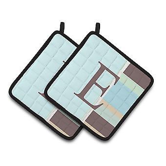Letter E Initial Monogram - Blue Stripes Pair of Pot Holders