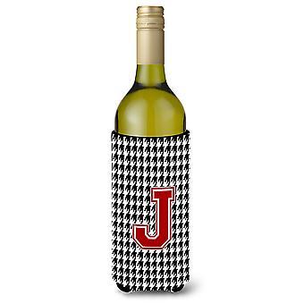 Monogram - Houndstooth  Initial  J Wine Bottle Beverage Insulator Beverage Insul