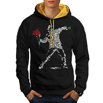 人間の花アート ファンタジー男性ブラック (ゴールド フード) コントラスト パーカー |Wellcoda