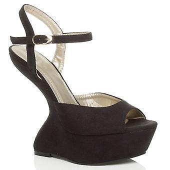 Ajvani kvinners høy hæl mindre kile plattform ankelen stroppen pony peep toe sko sandaler