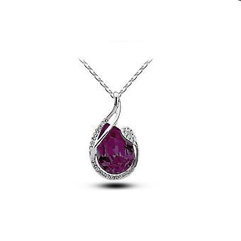 Naisten suuri tumma violetti soikea riipus kaulakoru hopea