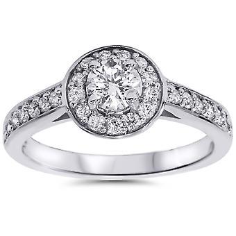 3 / 4ct Halo алмаз обручальное кольцо 14K Белое золото