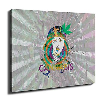Tyttö kannabiksen potin Rasta Wall Art Canvas 40 cm x 30 cm | Wellcoda