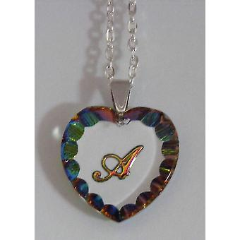 Heliotrope Initial Heart Crystal Pendant - A