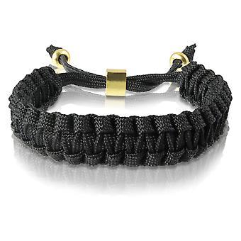 Skipper Flechtarmband Armband Bracelet geflochten aus Nylon in Schwarz Gold 7167
