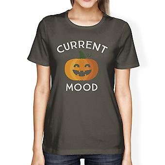 Pumpkin Current Mood Womens Dark Grey Cotton T-Shirt For Halloween
