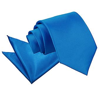 Electric Blue Plain Satiini Tie & taskussa neliön Set