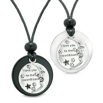 Ich liebe dich zum Mond und zurück Paare Beste Freunde Amulett Achat simulierten Katze Auge Halsketten