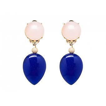 Gemshine Ohrringe Ohrclips Vergoldet Rosenquarz Jade Rosa Blau TROPFEN