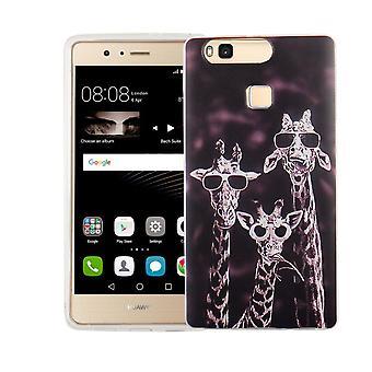 Mobile Shell por motivo de caso bolsa protetora Huawei P9 Lite capa slim TPU + armadura proteção de vidro 9 H 3 girafas