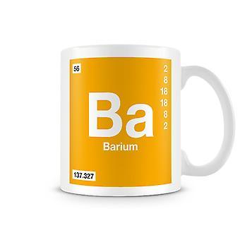 Tieteellinen painettu muki mukana elementin symboli 056 Ba - Barium