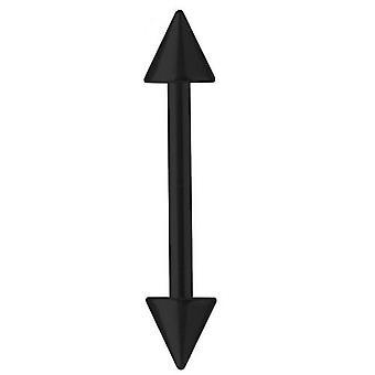 Piercing Bar zwart Titanium Barbell 1,6 mm met Spikes, lichaam sieraden | 6 - 40 mm