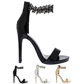 Womens Diamante Ankle Strap Party Sandals Evening Fashion High Heel Shoes UK 3-8