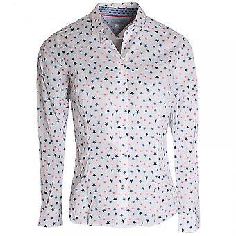 Vlt's By Valentina's Star Print Long Sleeve Cotton  Shirt