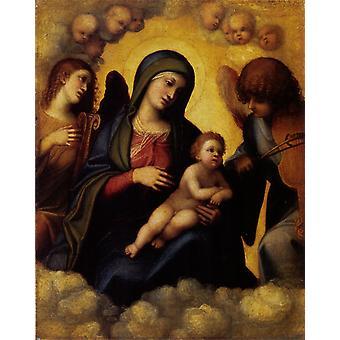 天使とマドンナと子供、コレッジョ、20x16.3cm
