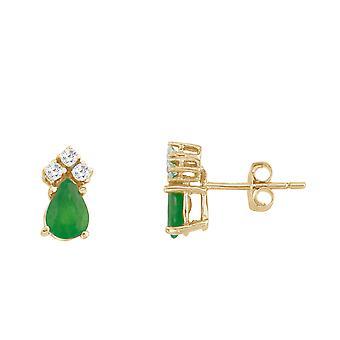 LXR 14k keltainen kulta smaragdi ja timantti päärynä muotoinen korvakorut 0.4ct