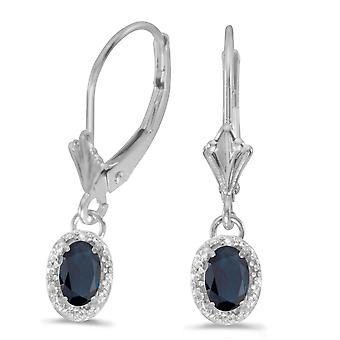 LXR 14k or blanc saphir ovale et diamants boucles d'oreilles Leverback 0.94 ct