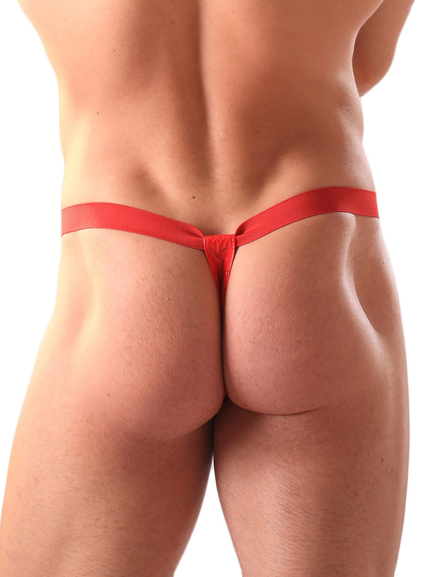 Honour Men's Sexy Thong in PVC Red G String Essential Bedroom Lingerie, PVC