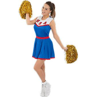 Orion Costumes Womens Blue USA Team American Cheerleader Uniform Fancy Dress