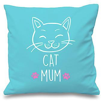 "Aqua Cushion Cover Cat Mum 16"" x 16"""
