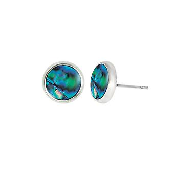 Eternal Collection Candid 10mm Round Paua Shell Silver Tone Pierced Stud Earrings