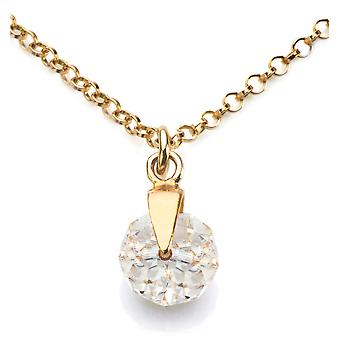 Ah! Jewellery 24K Gold Over Sterling Silver Clear Crystals From Swarovski Briolette Necklace, Stamped 925