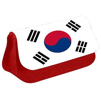 South Korea Flag Printed Design Pencil Case for Stationary/Cosmetic - 0163 (Red) by i-Tronixs