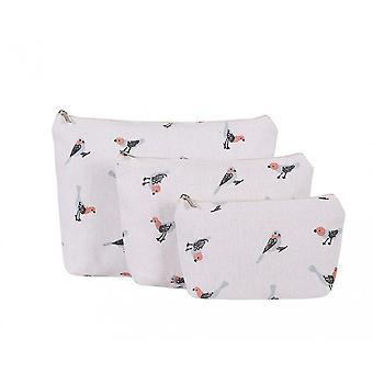 Fable Womens/Ladies Bird Print Make-Up Bags (Set Of 3)
