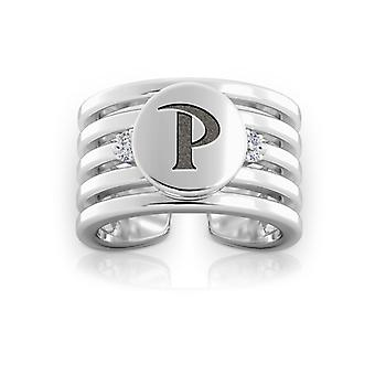 Pepperdine Universität graviert Sterling Silber Diamant Multiband Manschette Ring