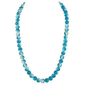 Eterno carnaval cristal checo turquesa crujido grano tono plata largo collar de colección