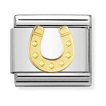 Nomination Classic Danish Horseshoe Steel and 18k Gold Link Charm 030115/11