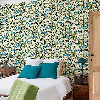 Grandeco Botanical Butterfly Pattern Wallpaper Modern Textured Butterflies Motif BA2602