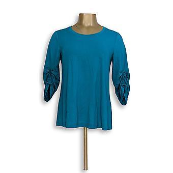 H by Halston Women's Top Knit Crepe Scoop Neck Blue A308095