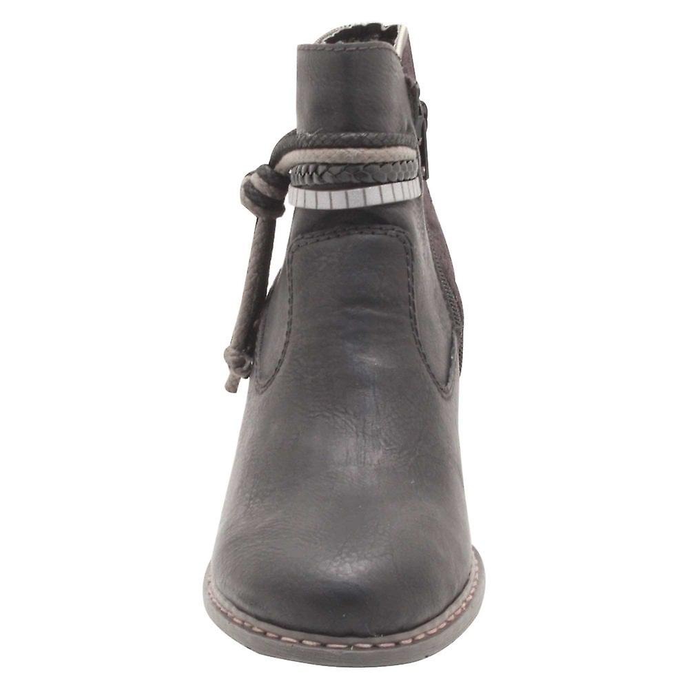 Rieker Lav Blokk Hæl Knot Detaljer Ankel Boots