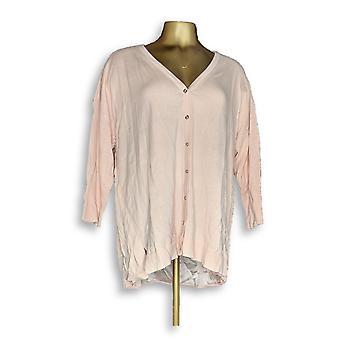H by Halston naiset ' s pusero 3/4-hiha poika ystävä neule takki vaaleanpunainen A351189