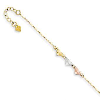 14K Tri χρώμα γυαλισμένο άνοιξη Ring λάμψη κομμένα χρυσού ρυθμιζόμενο αγάπη καρδιά αστράγαλος 9 ιντσών κοσμήματα δώρα για τις γυναίκες