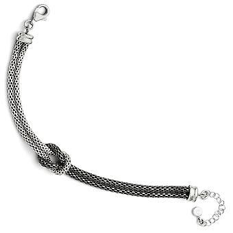 925 sterling sølv ruthenium plating fancy hummer lukning ruthenium belagt mesh med 1.5 tommer ext. armbånd-7 tommer