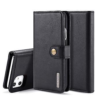 Dg. MING iPhone 11 Split Leather wallet Case-Black