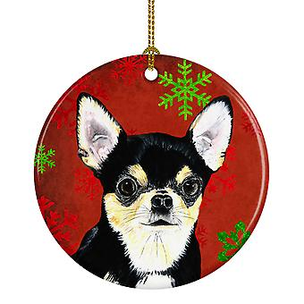 Chihuahua Red Snowflakes Holiday Christmas Ceramic Ornament SC9439