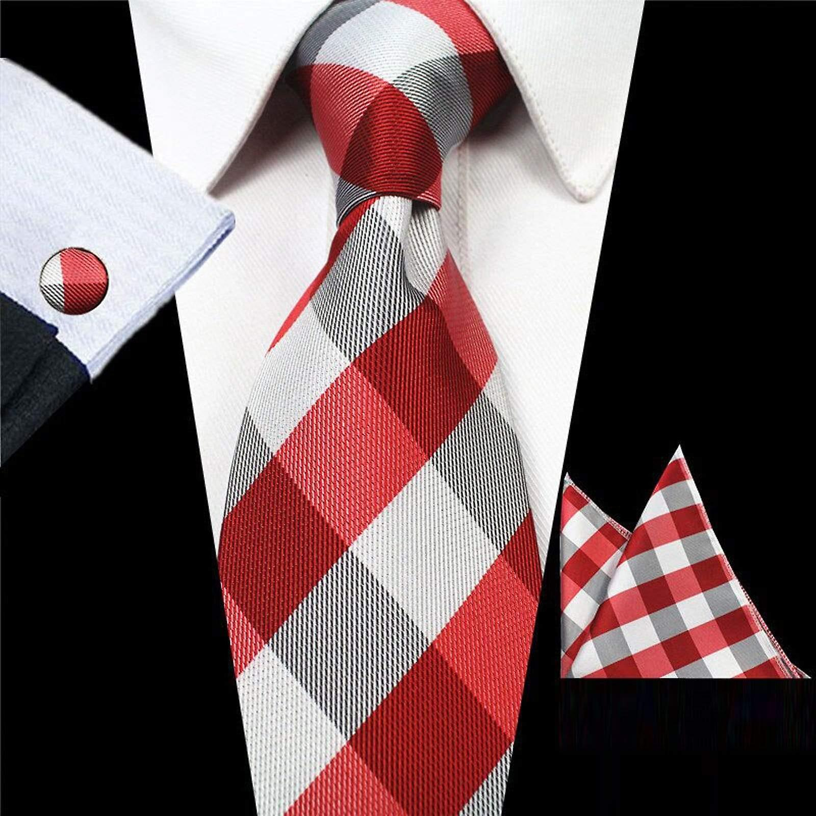 Red & grey square necktie cuff link & pocket square