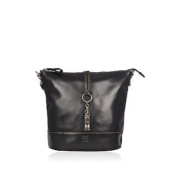 Bowland Large Leather Bucket Bag in Black