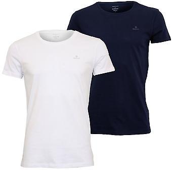 Gant 2-Pack G Logo Crew-Neck T-paidat, Navy/White