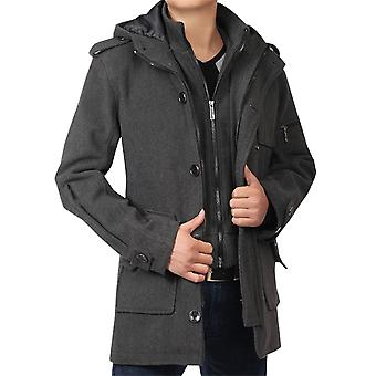 Allthemen Men's Slim Fit Thickened Fake Two Pieces Zipper Overcoat