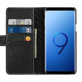 Case For Samsung Galaxy S9 - Black Grained Card Holder In True Leather
