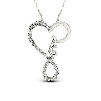 IGI certifié S925 argent 0,25 ct TDW collier torsadé coeur amour