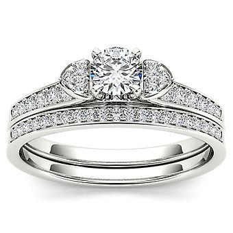 Igi-certifierad s925 silver 0.50ct tdw diamant tre sten stil brudset