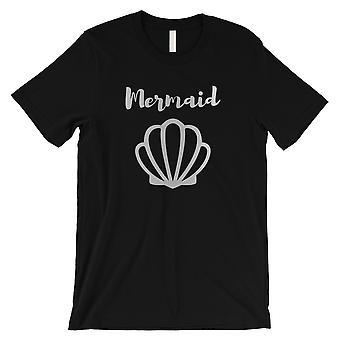 Meerjungfrau Muschel-SILBER Herren schwarz T-Shirt Phantasie große coole Geschenk