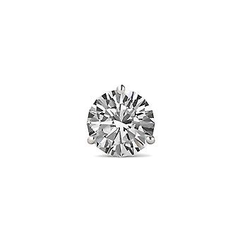 14K White Gold Moissanite by Charles & Colvard 5.0mm Round Single Stud Earring, 0.50ct DEW